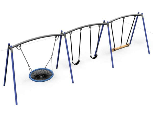 Flying Saucer - Triple Frame with 1200mm Basket, Duo Rope & 2 Standard Seats