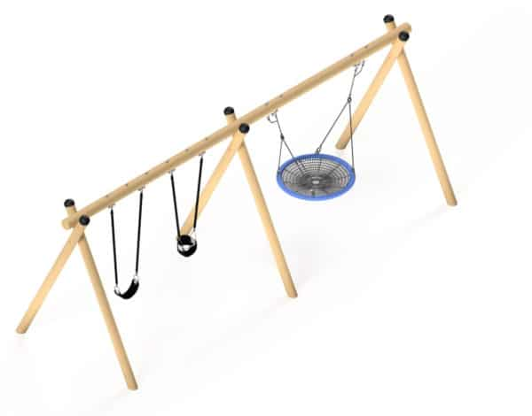 Flying Saucer - Double Timba Frame with 1200mm Basket & 2 Standard Seats