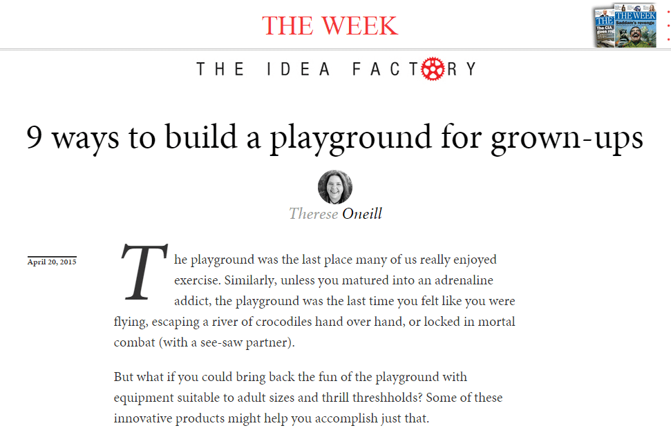 TheWeek.com Talks Playgrounds for Grown-ups